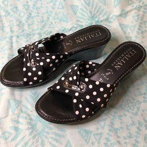 Italian Shoemakers Polka Dot Wedge Sandals